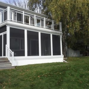 Deck and railing over screen room